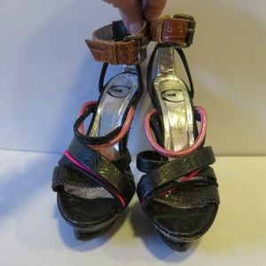 ROBERT CAVALLI BLACK PINK LEATHER SANDALS 5.5